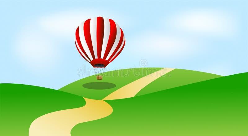 Stor ballong i blå himmel vektor illustrationer