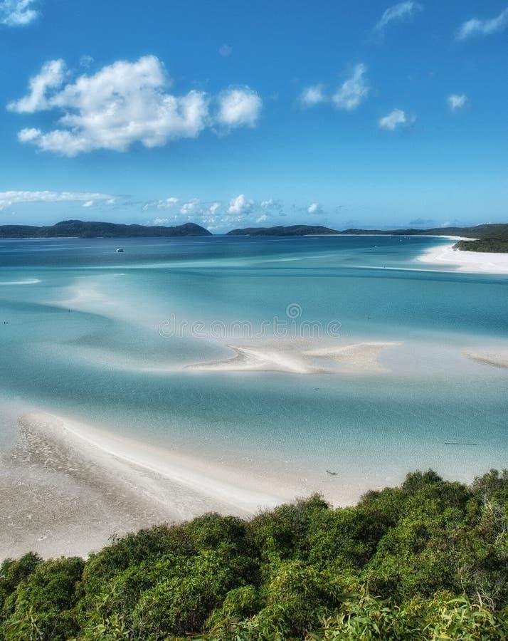 Stor barriärrev, Australien. Underbar Whitehaven strand i royaltyfria foton