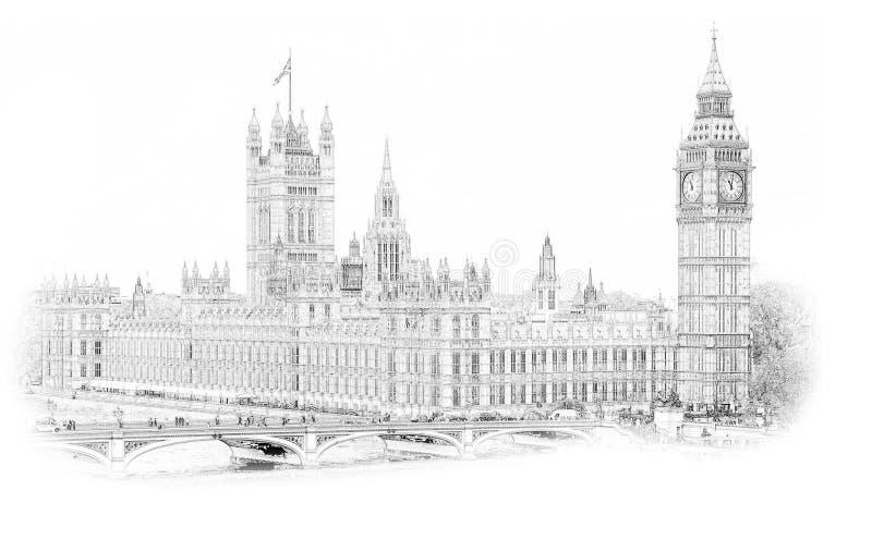 Stor Ben London England Hand Drawn illustration bakgrund isolerad white Historisk showplace för trycket, souvenir, po stock illustrationer