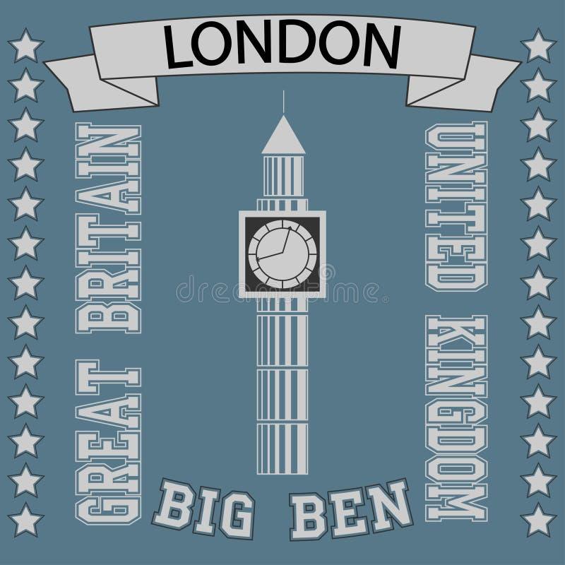 Stor Ben London t-skjorta stock illustrationer