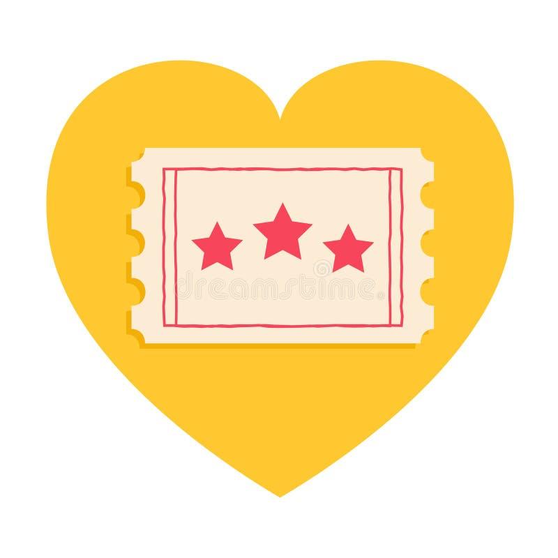 Stor biljett med röda stjärnor hjärta isolerad formtomatwhite medge en Jag älskar filmbiosymbolen i plan designstil Gul bakgrund  vektor illustrationer