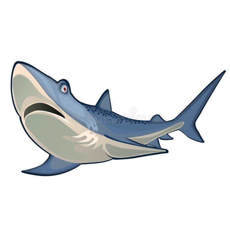 Stor blå haj som isoleras på vit bakgrund Illustration för vektortecknad filmnärbild vektor illustrationer