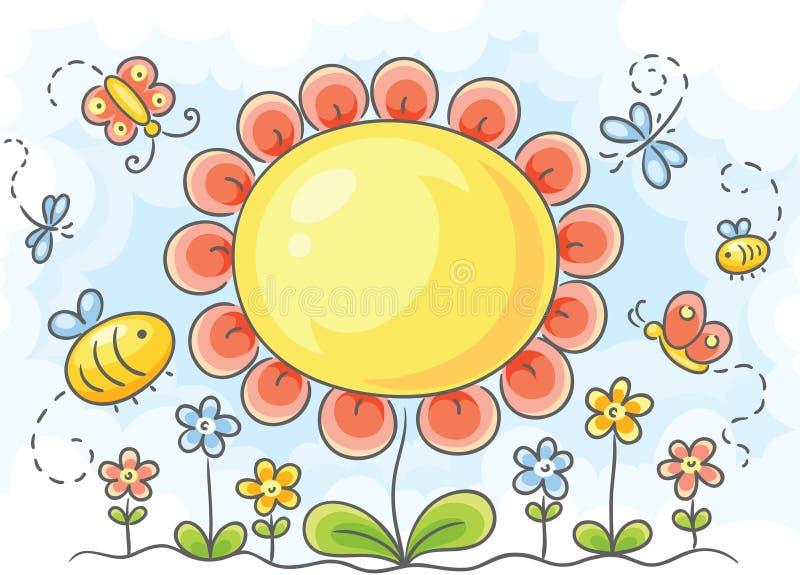 Stor blomma stock illustrationer