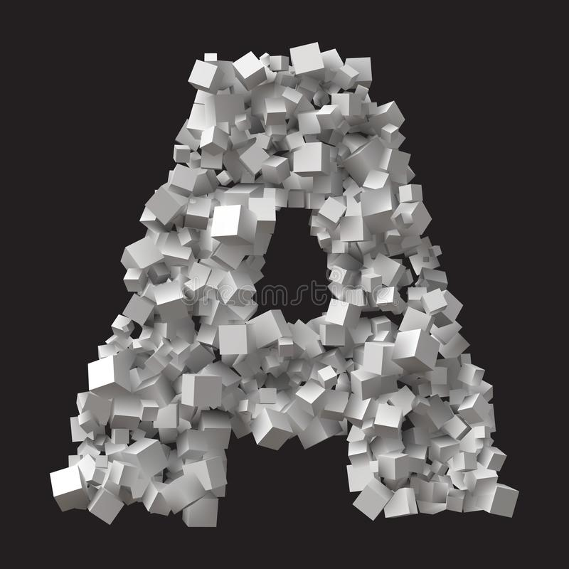 Stor bokstav som bildas av slumpmässiga storleksanpassade kuber vektor illustrationer