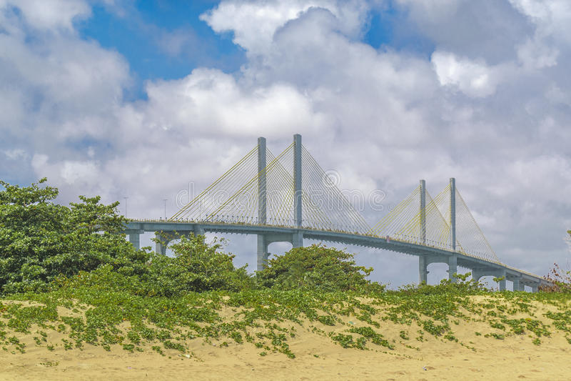 Stor bro över Atlantic Ocean Natal Brazil arkivfoto