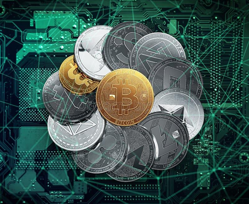 Stor bunt av cryptocurrencies på ett strömkretsbräde med en guld- bitcoin i mitt royaltyfri illustrationer