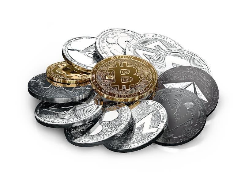 Stor bunt av dfferent cryptocurrencies som isoleras på vit stock illustrationer