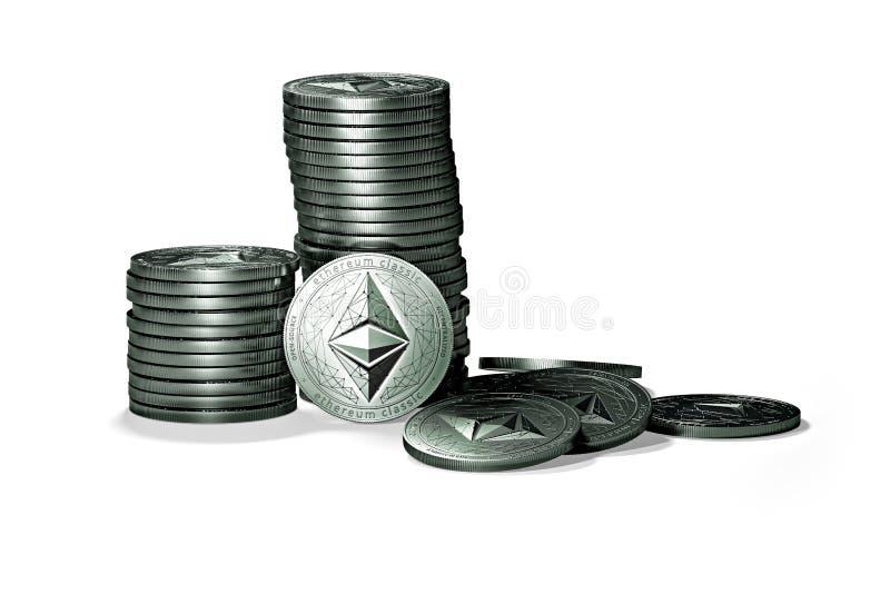 Stor bunt av mynt för Ethereum klassiker som etc. isoleras på vit bakgrund vektor illustrationer