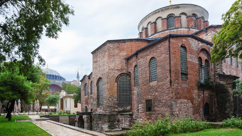 Stor byggnad av den forntida Hagia Irene kyrkan i Istanbul royaltyfri foto