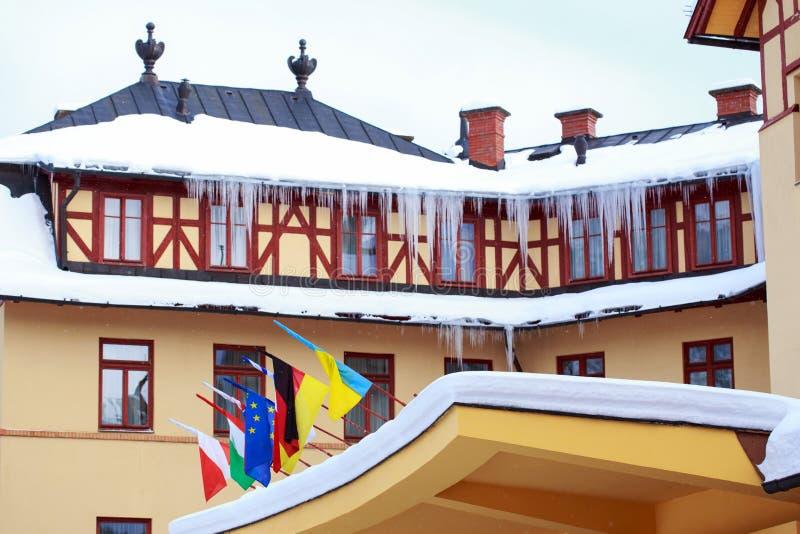 Stor byggnad med flaggor royaltyfri foto