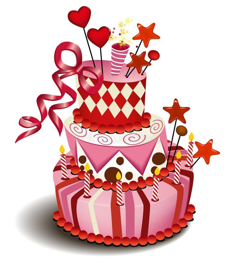 stor cakepink royaltyfri illustrationer