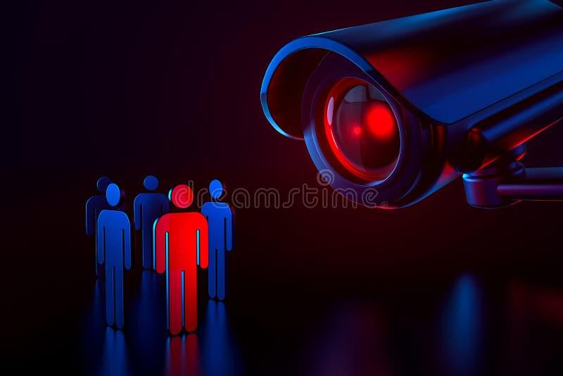 Stor cctv som en metafor av bevakningsystemet som väljer en person och kontrollerar hans personliga data i säkerhetssystembegrepp royaltyfri illustrationer