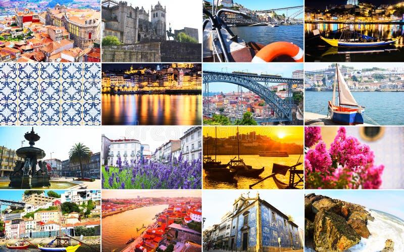 Stor collage med en variation av landskap och gr?nsm?rken av Porto, Portugal royaltyfri fotografi