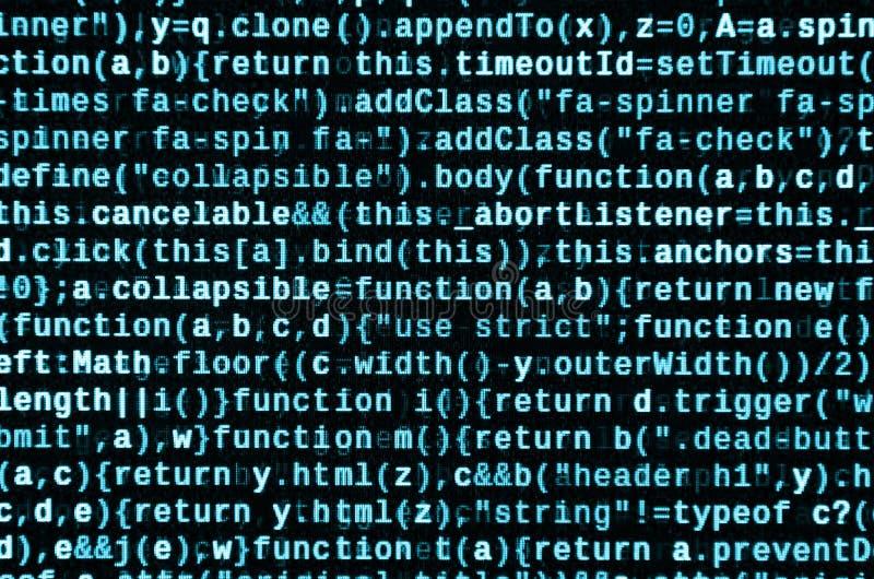 Stor data och internet av sakertrenden It-specialistarbetsplats WebsiteHTML-kod på bärbar datorskärmen arkivfoto