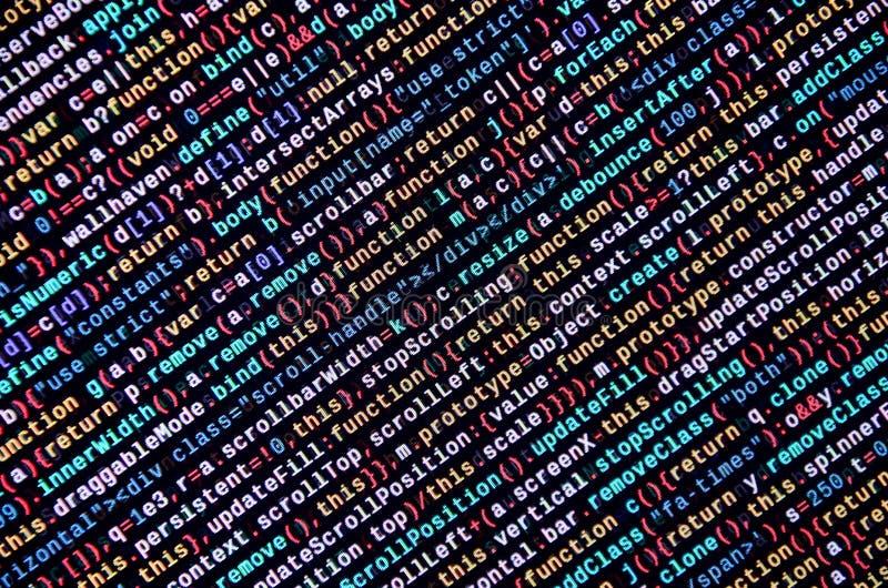 Stor data och internet av sakertrenden It-specialistarbetsplats WebsiteHTML-kod på bärbar datorskärmen royaltyfri foto