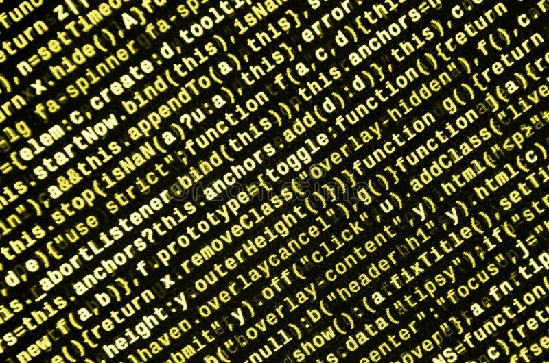 Stor data och internet av sakertrenden It-specialistarbetsplats WebsiteHTML-kod på bärbar datorskärmen royaltyfria bilder