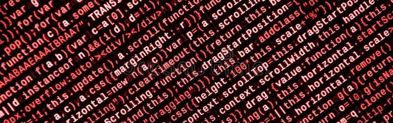 Stor data och internet av sakertrenden It-specialistarbetsplats WebsiteHTML-kod på bärbar datorskärmen arkivbild