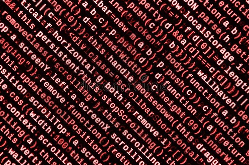 Stor data och internet av sakertrenden It-specialistarbetsplats WebsiteHTML-kod på bärbar datorskärmen royaltyfri bild