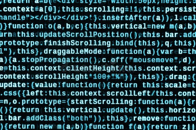 Stor data och internet av sakertrenden It-specialistarbetsplats WebsiteHTML-kod på bärbar datorskärmen fotografering för bildbyråer