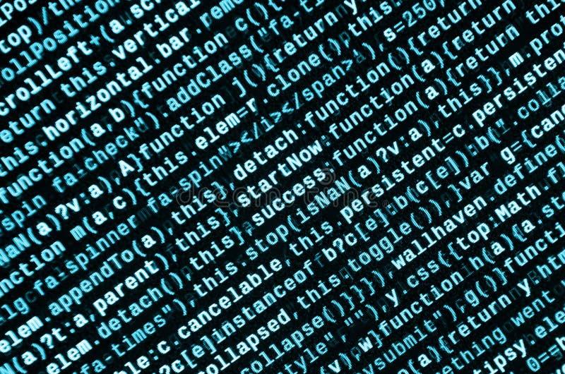 Stor data och internet av sakertrenden It-specialistarbetsplats WebsiteHTML-kod på bärbar datorskärmen arkivbilder