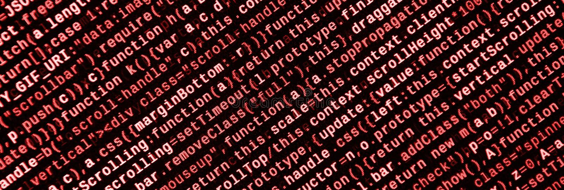 Stor data och internet av sakertrenden It-specialistarbetsplats WebsiteHTML-kod på bärbar datorskärmen royaltyfri fotografi