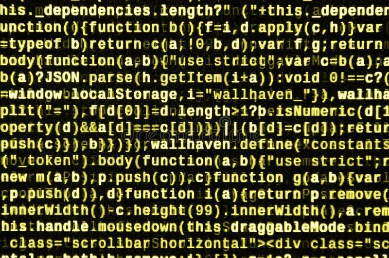 Stor data och internet av sakertrenden It-specialistarbetsplats WebsiteHTML-kod på bärbar datorskärmen arkivfoton