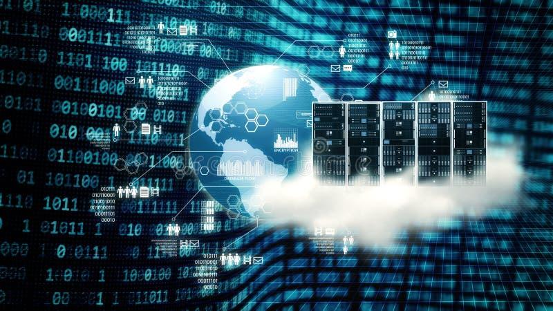 Stor data- och molnserver för internet stock illustrationer