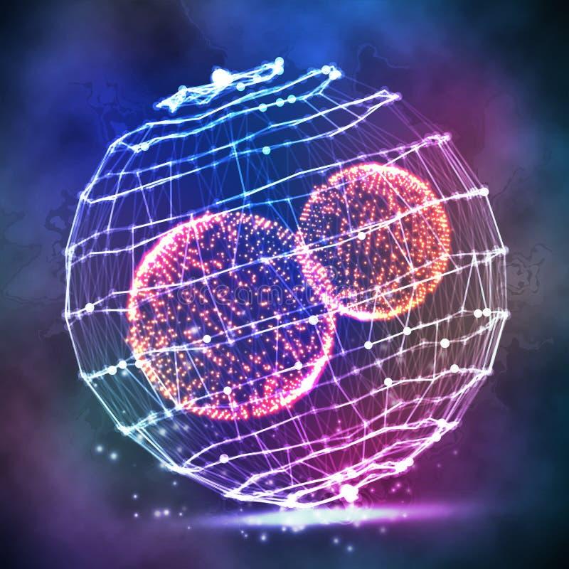 Stor datasfär Framställning för struktur för vektorCybersfär Digital abstrakt bakgrund med att glöda rastrerat, flygskräp royaltyfri illustrationer