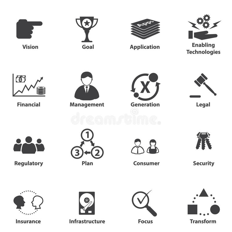 Stor datasymbolsuppsättning, strategisk planläggning för affärsIT vektor illustrationer