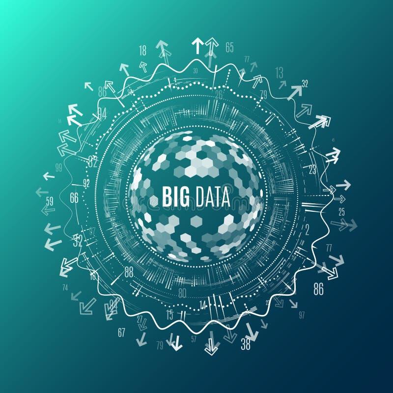 Stor datavisualization Abstrakt bakgrund med Dots Array och royaltyfri illustrationer
