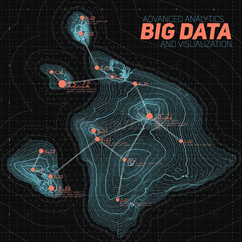 Stor datavisualization för terräng Infographic futuristisk översikt Komplex topografisk datadiagramvisualization royaltyfri illustrationer