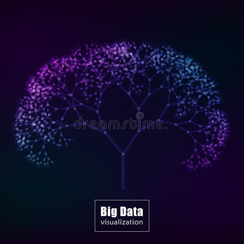 Stor datavisualization glödande trädvektor royaltyfri illustrationer