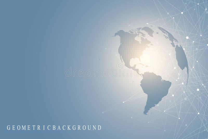 Stor datavisualization med ett världsjordklot Abstrakt vektorbakgrund med dynamiska vågor Anslutning för globalt nätverk stock illustrationer