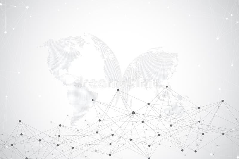 Stor datavisualization med ett världsjordklot Abstrakt vektorbakgrund med dynamiska vågor Anslutning för globalt nätverk royaltyfri illustrationer