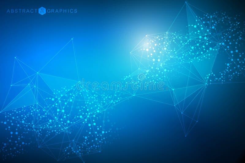 Stor datavisualizationbakgrund Modern futuristisk faktisk abstrakt bakgrund Vetenskapsnätverksmodell som förbinder royaltyfri illustrationer