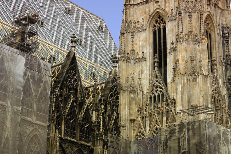 Stor detalj av arkitektur på den St Stephen domkyrkan i Wien, arkivfoton