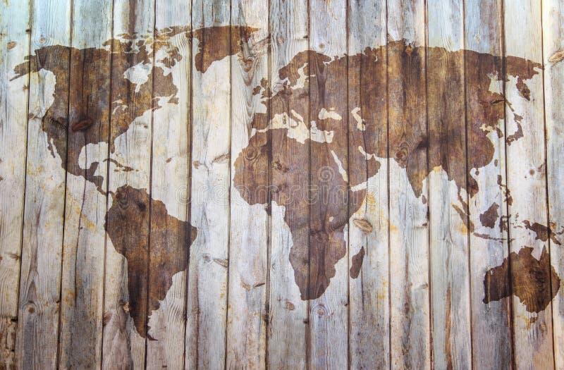 Stor detaljillustration av världskartan i tappningstil med alla landsgränser arkivfoto