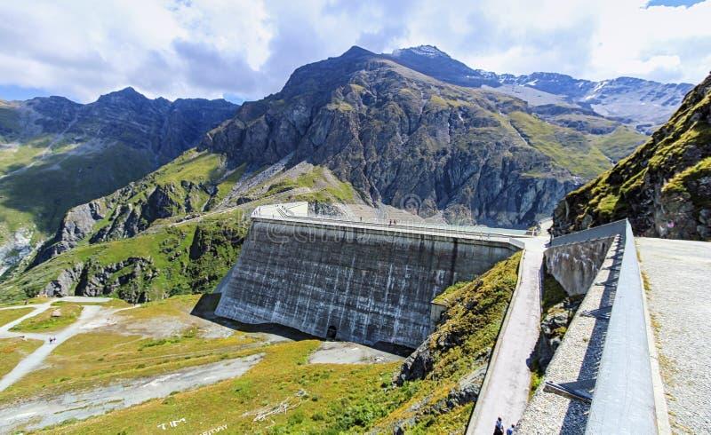 Stor Dixence fördämning, Valais, Schweiz fotografering för bildbyråer