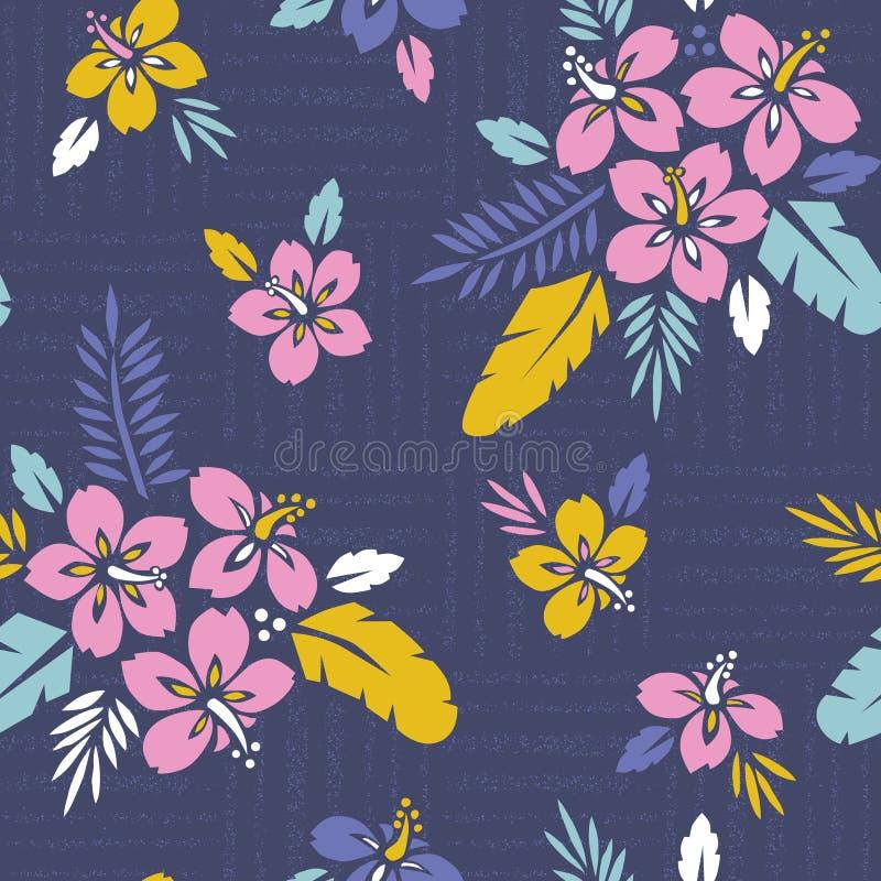 Stor djärv färgrik tropisk exotisk lövverk, modell för blom- vektor för hibiskus sömlös Frodiga tropiska palmblad royaltyfri illustrationer