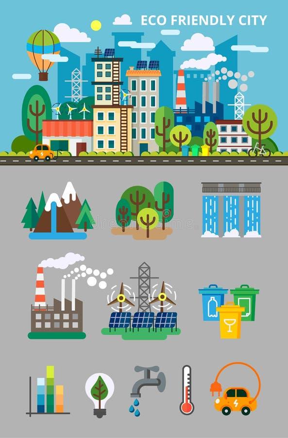Stor ekologiuppsättning för informationsgraphis Landskap med ekologibegrepp Ecofriendly stad med byggnader, transport och naturen arkivfoto