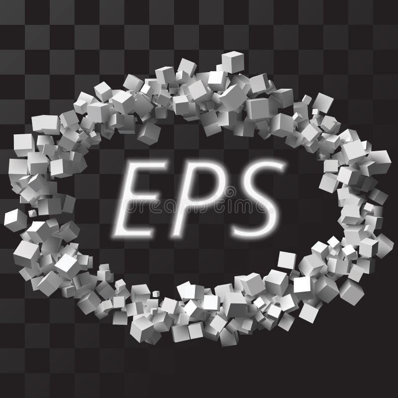 Stor eliptic ram som bildas av slumpmässiga storleksanpassade kuber med genomskinlig bakgrund stock illustrationer
