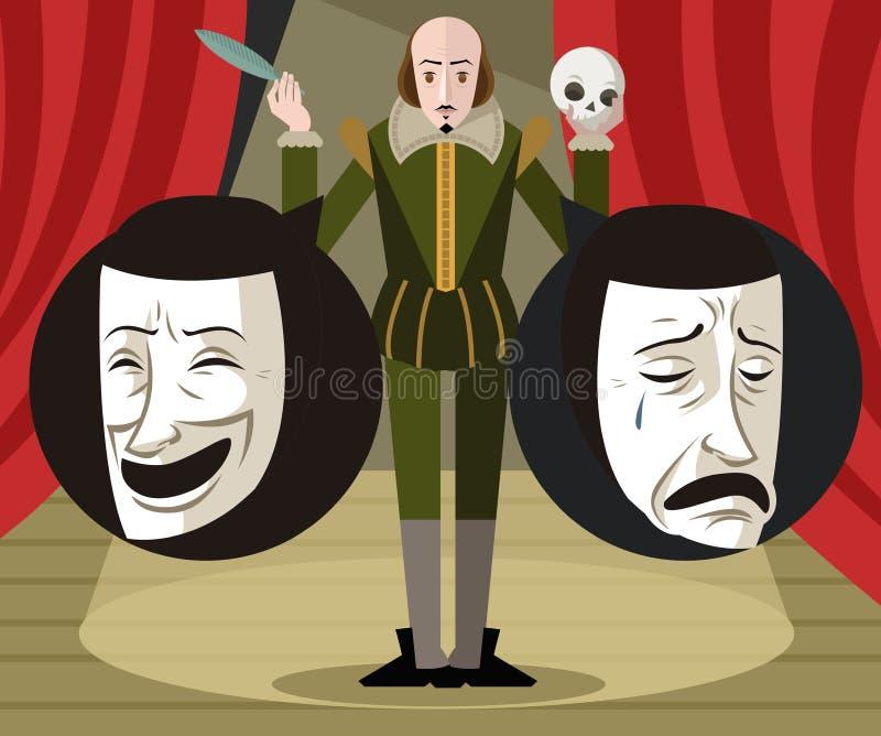 Stor engelsk författare som talar om teaterkomedi- och dramamaskeringar vektor illustrationer