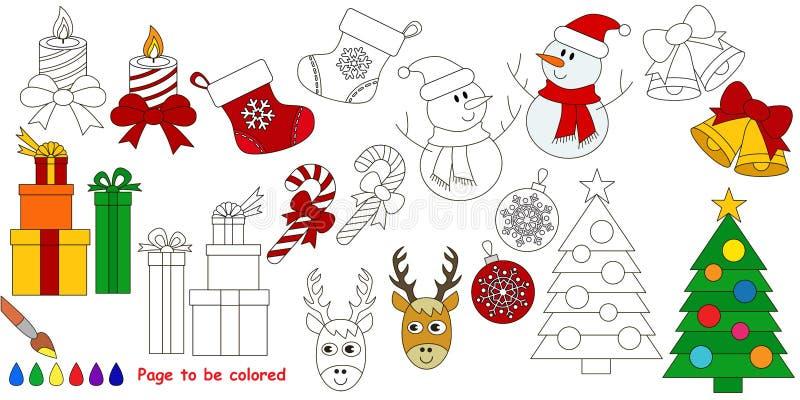 Stor färgläggningbok för jul vektor illustrationer