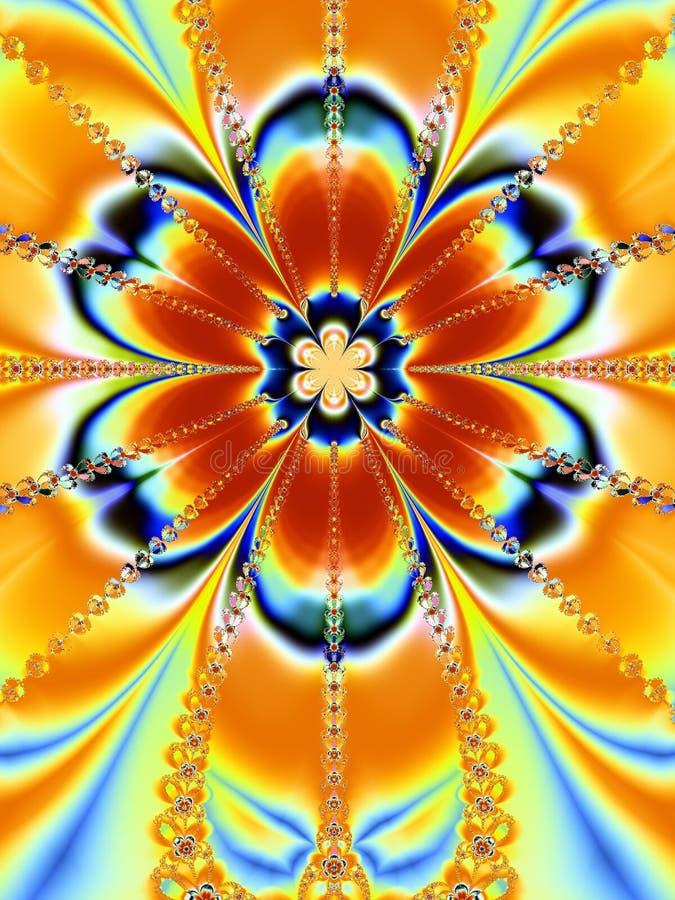 stor färgrik blommafractal vektor illustrationer