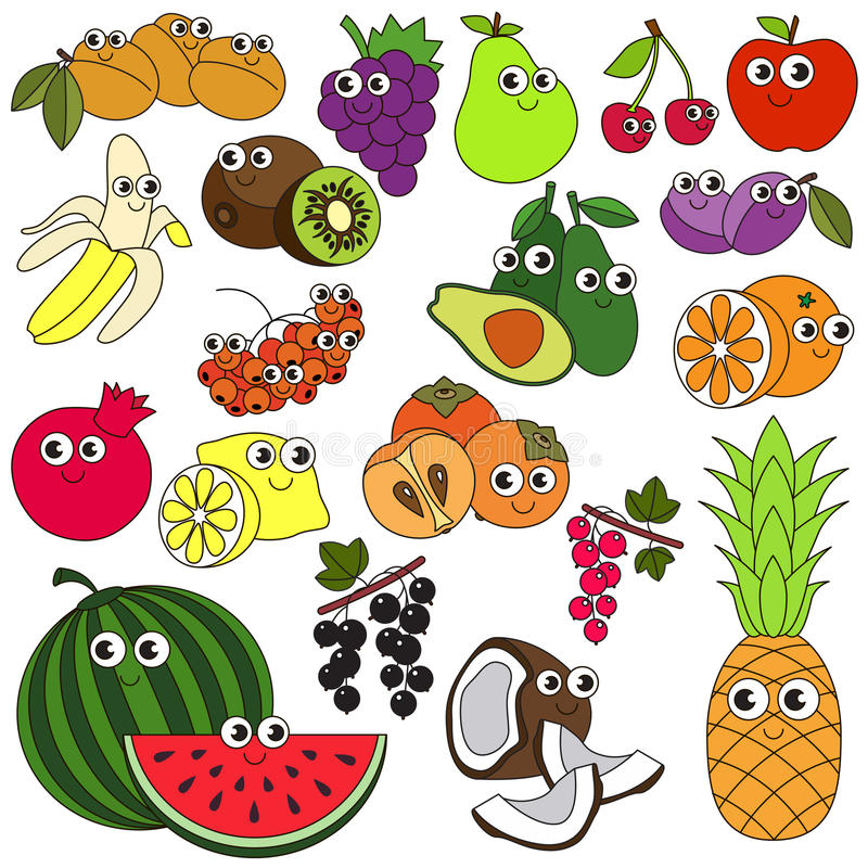 Stor färgrik sommarfruktuppsättning stock illustrationer