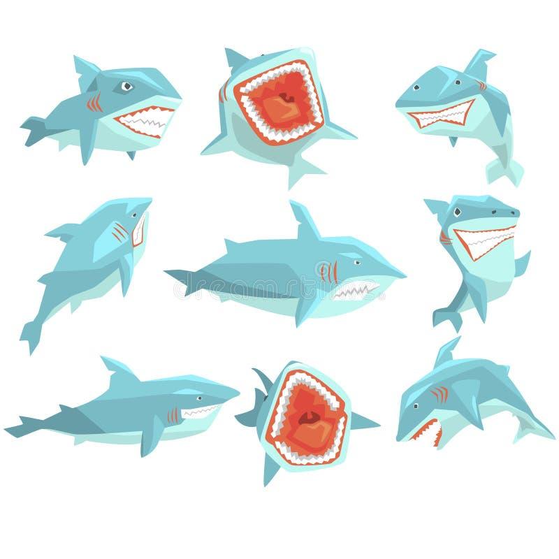 Stor för Marine Fish Living In Warm för vit haj uppsättning för vektor för tecken för tecknad film för vatten hav realistisk av o stock illustrationer