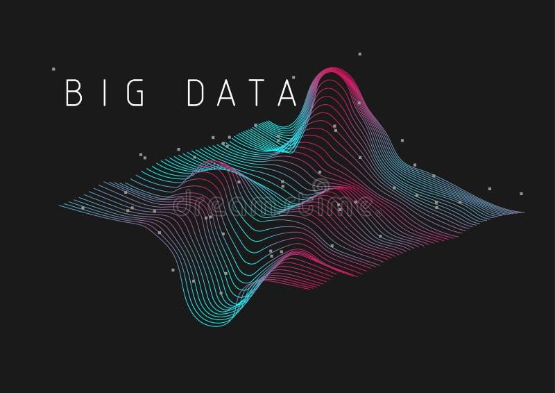Stor för täppavisualization för data 3D illustration för bakgrund vektor illustrationer