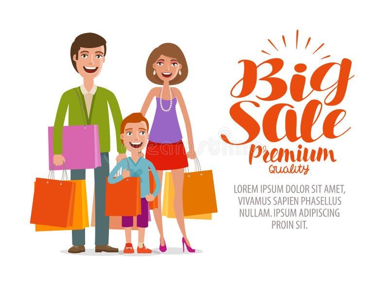 stor försäljning för baner Lycklig familj med shoppingpåsar den främmande tecknad filmkatten flyr illustrationtakvektorn stock illustrationer