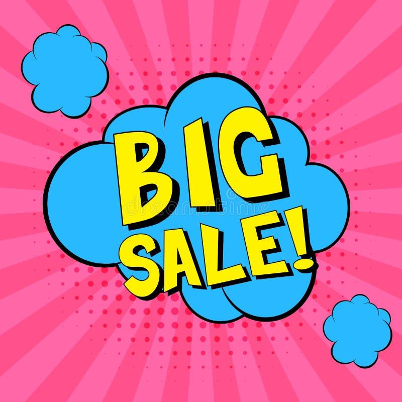 Stor försäljning!!! Komiska anförandebubblor Blå illustration för etikett för vektor för popkonst Tappningkomiker bokar affischen royaltyfri illustrationer
