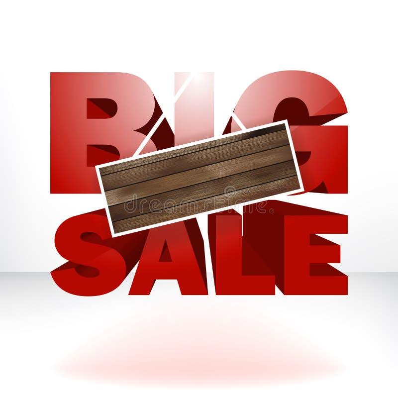 Stor försäljning med wood bakgrund för kopieringsutrymme. vektor illustrationer